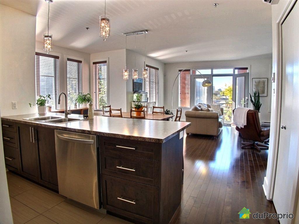 Condo vendu montr al immobilier qu bec duproprio 462580 - Salon cuisine aire ouverte ...