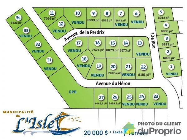 Lot - Développement des Oiseaux, L'Islet for sale