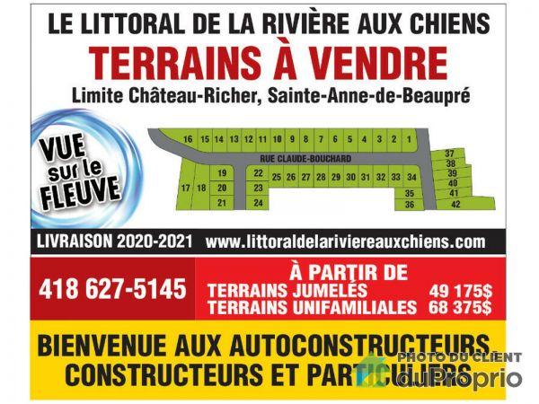 rue Claude-Bouchard - Le Littoral de la Rivière aux Chiens, Ste-Anne-de-Beaupré à vendre