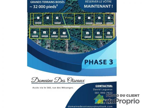 rue des Parulines - Développement domiciliaire Domaine des oiseaux, St-Lambert-De-Lauzon à vendre