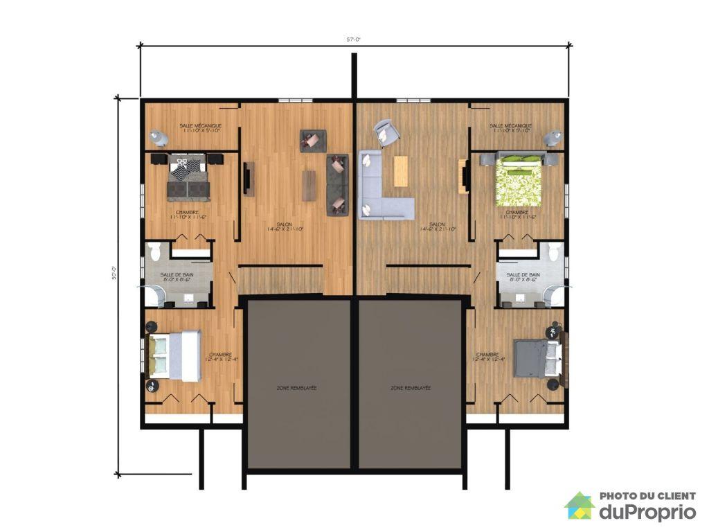 Plan maison jumele par le garage plan maison plan maison - Plan maison jumelee par le garage ...