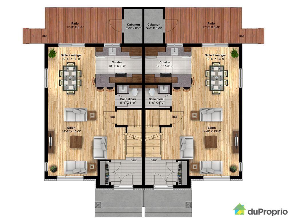 Latest Plan Maison Jumelee Gratuit Saint Etienne Des Incroyable Plan Maison  Toit Plat Simple De With Plan Maison Jumele