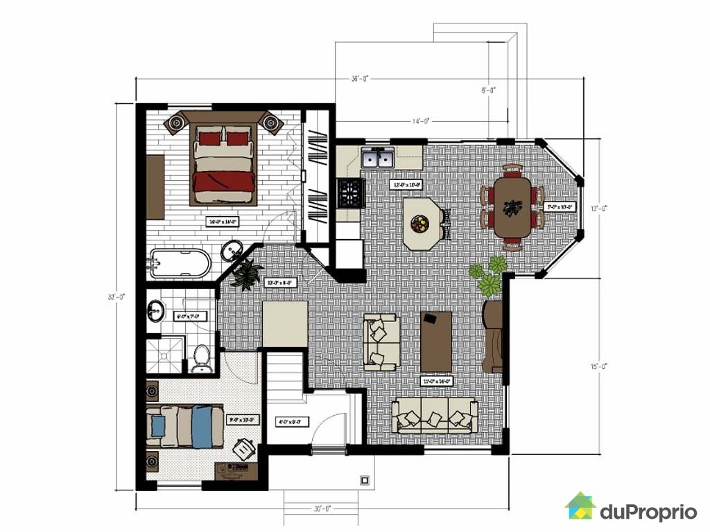 Plan de maison duplex joy studio design gallery best for Plan maison duplex