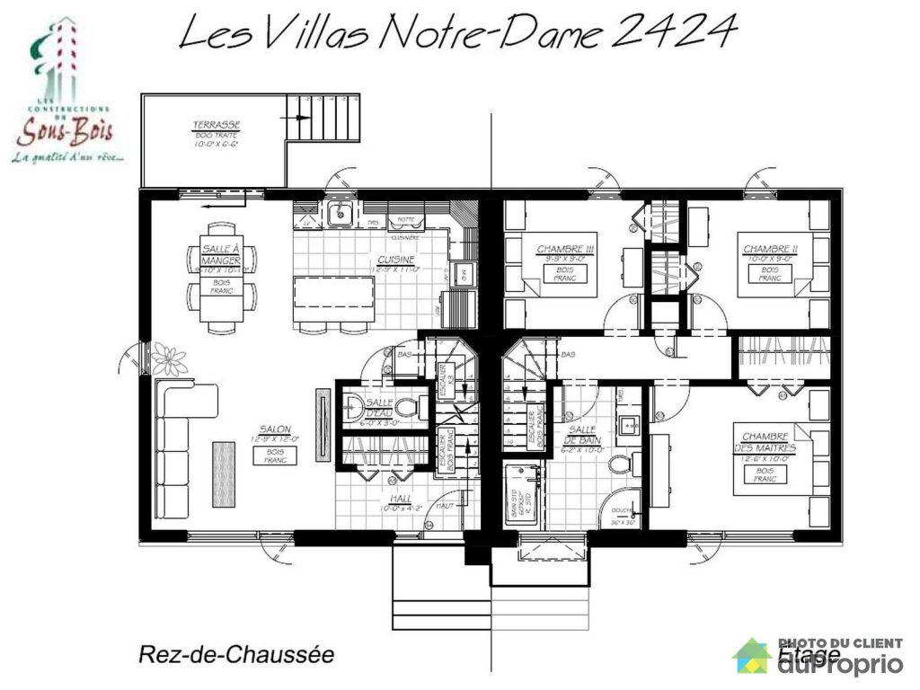 Plan maison de ville good plan of the main floor c with for Plans de maison de ville