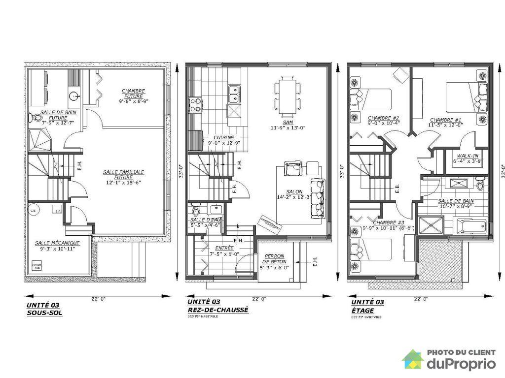Plan maison de ville mitoyenne cheap vente maison - Plan de maison mitoyenne ...